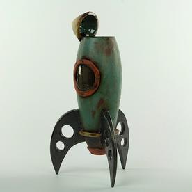 """Michael Klapthor Michael Klapthor, Rocket Vase, stoneware, glaze, 13.75x6.5x5"""""""