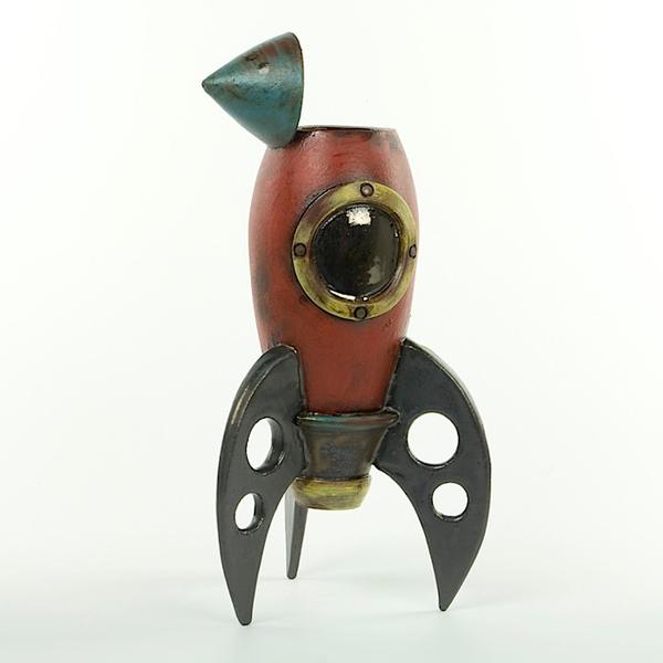 """Michael Klapthor Michael Klapthor, Rocket Vase, stoneware, glaze, 12.75x6.5x5"""""""