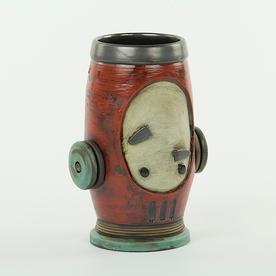 "Michael Klapthor Michael Klapthor, Tumbler/Vase, stoneware, glaze, 6.25x3.25"""