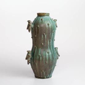 "Shawn Ireland Shawn Ireland, Gourd Vase w/Birds, handbuilt, wood-fired, ash glaze, 11.25 x 6.75 x 5"""