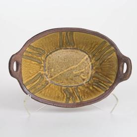 "Shawn Ireland Shawn Ireland, Oval Baker, handbuilt, wood-fired, ash glaze, 4.5 x 13 x 8.75"""
