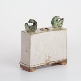 "Shawn Ireland Shawn Ireland, Box Vase w/Ducks, handbuilt, wood-fired, ash glaze, 6.75 x 6.25 x 2.5"""