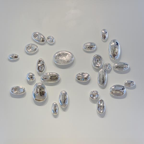 "Thor & Jennifer Bueno, Intersecting Silver, blown, silvered glass, 42 x 60"""