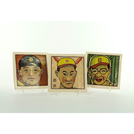"""Dan Anderson SOLD Dan Anderson, Sushi Plate Triptych, Japanese Baseball Players, earthenware, 1/2 x 5 3/4 x 5 3/4"""""""