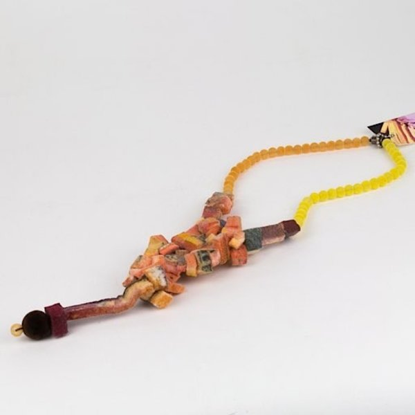 Leisa Rich, Necklace, 3D printing with plant-based, biodegradable plastic, velvet beads, hand dyed felt, magnetic clasp
