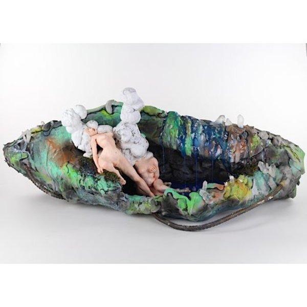 "Ashley Maxwell, Girl Across the Street, ceramic, plaster, foam, rebar, crystals, paint, plastic, 15"" x 41"" x 17"""