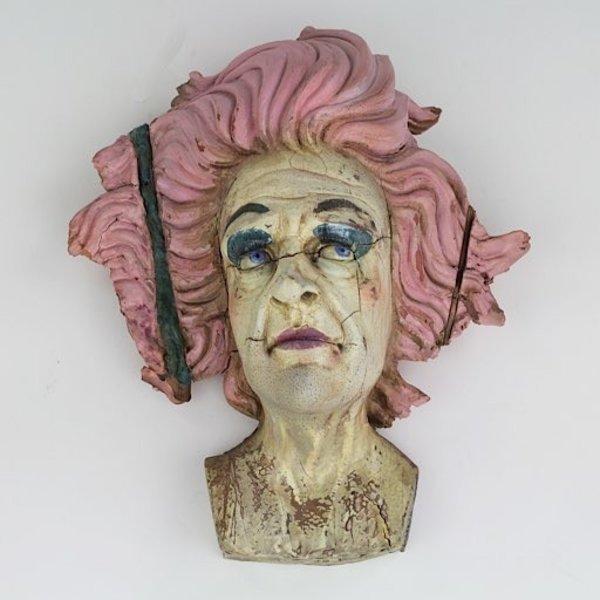 "TJ Erdhal, I Was There to Meet a Woman, I Think, clay, slip, glaze, underglaze, engobe, fingernail polish, ink, 14 x 12 x 7"""