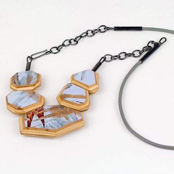 "Tara Locklear Tara Locklear, Gem Crescent Necklace, broken skateboards, laser cut maple wood, sterling silver, leather, pigment, 29 x 3 x .5"""