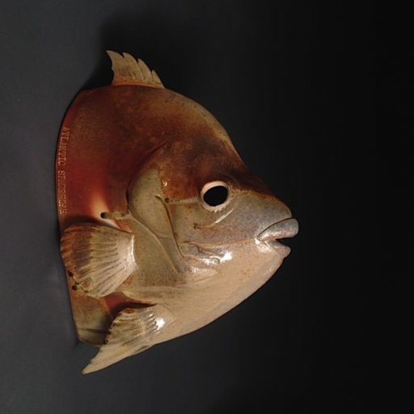 Marvin Bjurlin, Atlantic Spadefish, anagama fired, 17 x 13 x 6.5""