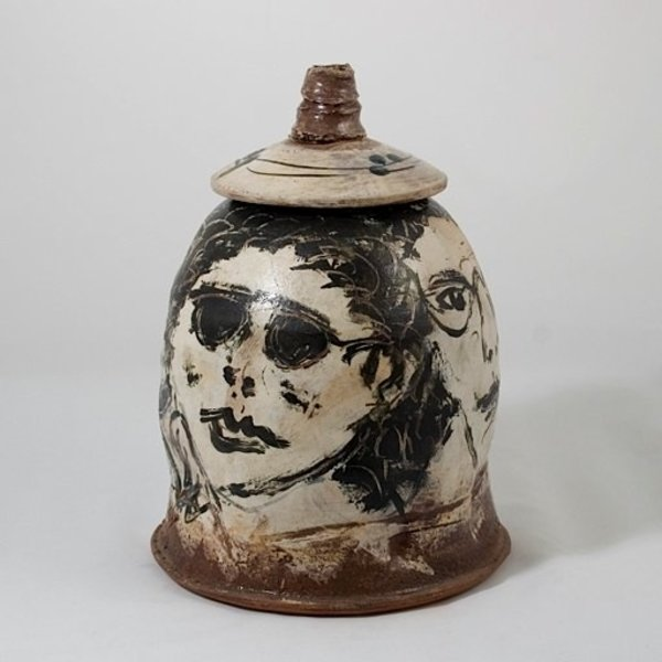 Ron Meyers, Lidded Jar, faces, 12.75 x 9