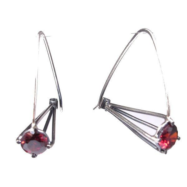 Joanna Gollberg, Jet Loops Earrings, Red Cz, Sterling Silver