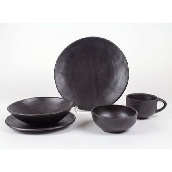 "Jerilyn Virden Jerilyn Virden, Place Setting, black, handbuilt earthenware, dinner plate 11.5"" diameter"