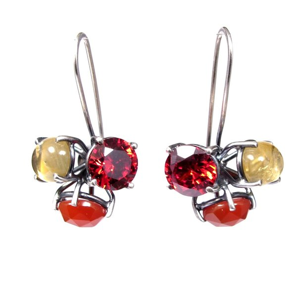 Joanna Gollberg, 3 Stone Cluster Earrings, Red Cz, Carnelian, Citrine, Sterling Silver