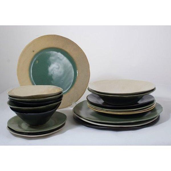 "Joan Platt, Green Spaghetti Bowl, stoneware, glaze, 8.5"" dia,Care: dishwasher, microwave safe"