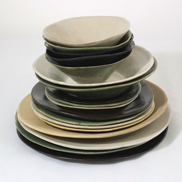 Joan Platt,  Green Lunch/Salad Plate, stoneware, glaze, 8.75&quot; dia<br />
