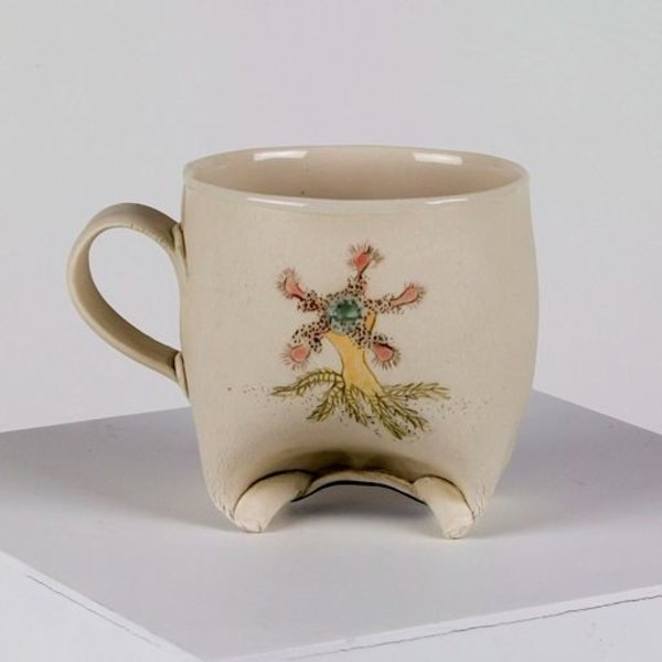 Annette Gates, Rolled Foot Mug; Coral image, 4 x 3 x 3