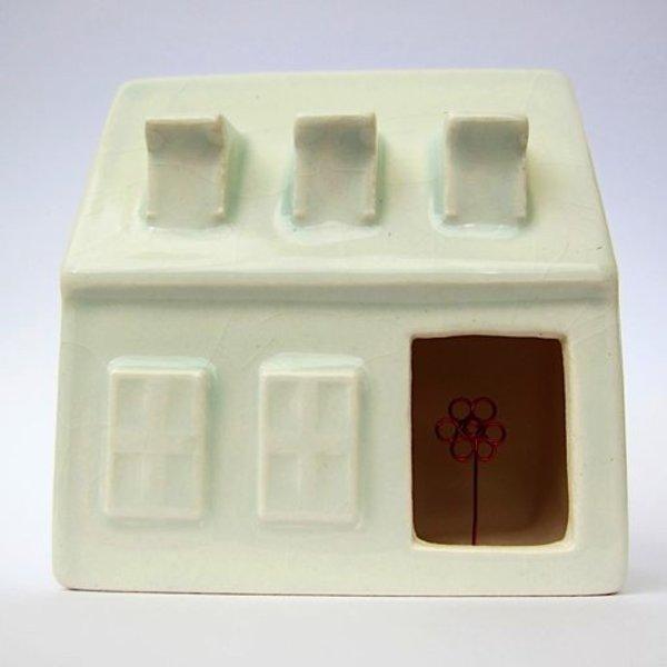 "Irianna Kanellopoulou, Open House V, ceramic, glaze, copper wire, 2.125 x 2 x 1.25"""