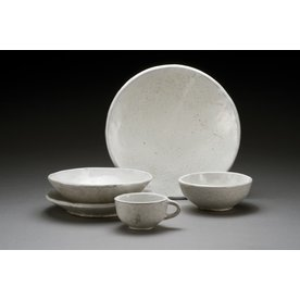 "Jerilyn Virden Jerilyn Virden, Place Setting, white, handbuilt earthenware, dinner plate 11.5"" diameter"