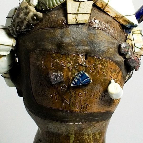 Peter Lenzo, My Helmet Don't Come Off at Night, ceramic, found objects, 16 x 10 x 8