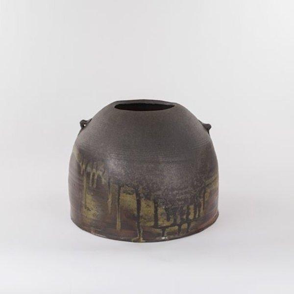 """Rob Barnard, Squat Jar, woodfired, 9 x 11.75"""""""