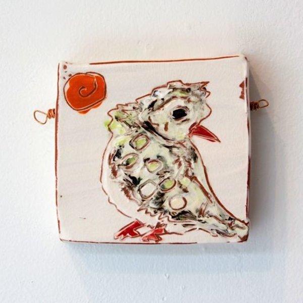 "Shaunna Lyons, Bird Tile, earthenware, 4""x4""x1"""