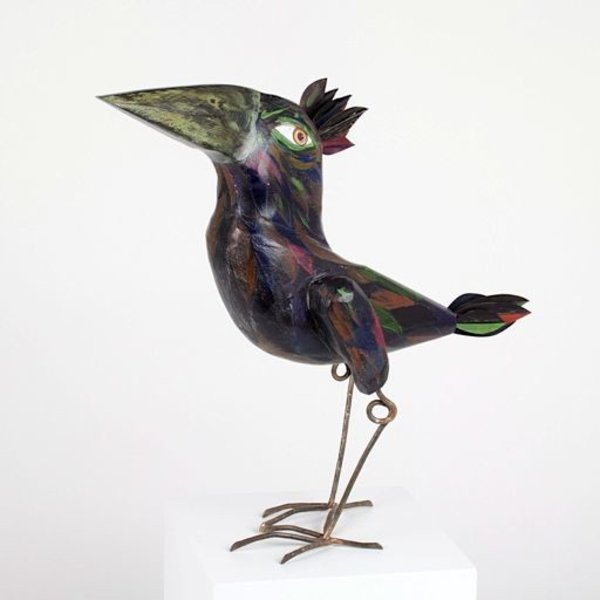 "Tom Hill, Large Black Bird, wood, steel, 12.5"" x 4.5 x 15"""
