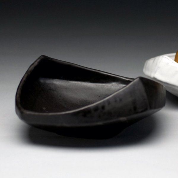 "Jerilyn Virden Jerilyn Virden, Appetizer Tray, Black, handbuilt earthenware,  13.25"" l x 12""w x 3.5""h"
