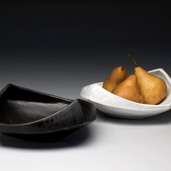 "Jerilyn Virden Jerilyn Virden, Appetizer Tray, White, handbuilt earthenware,  13.25"" l x 12""w x 3.5""h"