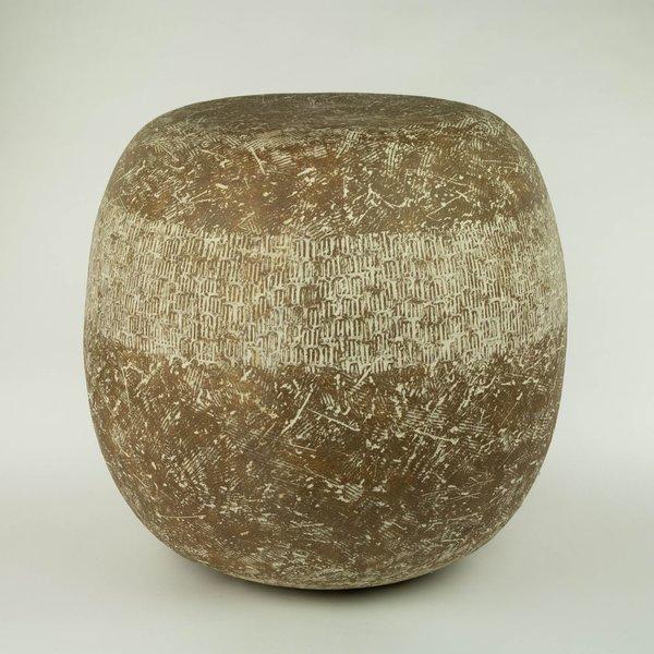 """Claude Conover, Toltec, Garden Stool, stoneware, 16 x 16"""""""