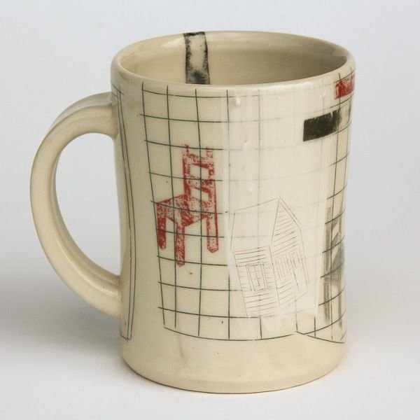 Mark Errol, Coffee Cup, porcelain, slip, mishima, decals, 4.25 x 4.5 x 3.5""
