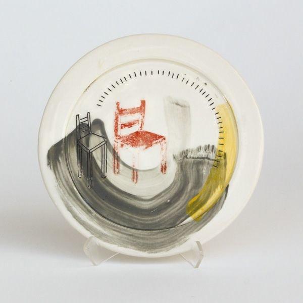 "Mark Errol, Small Plate, porcelain, slip, mishima, decals, .5 x 6.5"" diameter"