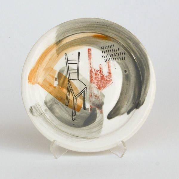 "Mark Errol, Small Plate, porcelain, slip, mishima, decals, .25 x 6"" diameter"