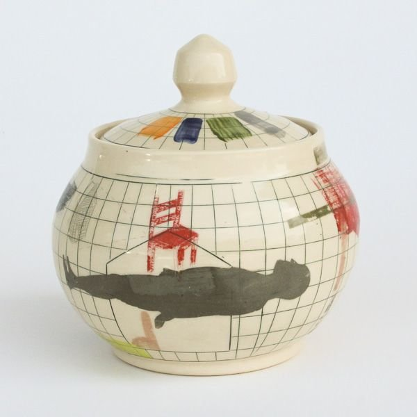 "Mark Errol, Lidded Jar, porcelain, slip, mishima, decals, 7.5 x 7"" diameter"