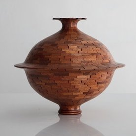 Richard Haining SOLD Richard Haining, Stacked Stepped Lip Vessel, reclaimed mahogany, hand shaped, 11 x 12.75""