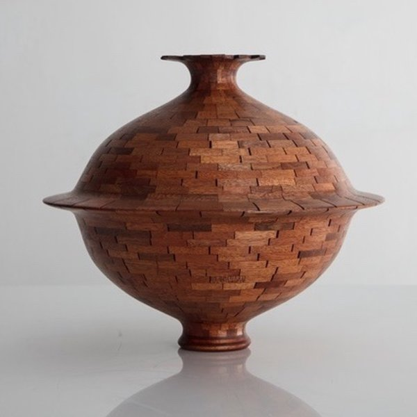 "Richard Haining Richard Haining, Stacked Mahogany Vessel, reclaimed wood, hand shaped, 11 x 12.75"" dia"