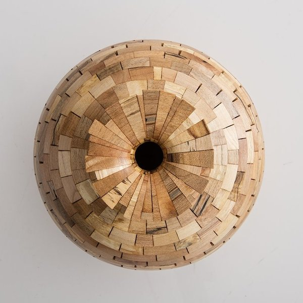 "Richard Haining Richard Haining, Stacked Sphere, reclaimed maple, hand shaped, 8 x 8.5"""
