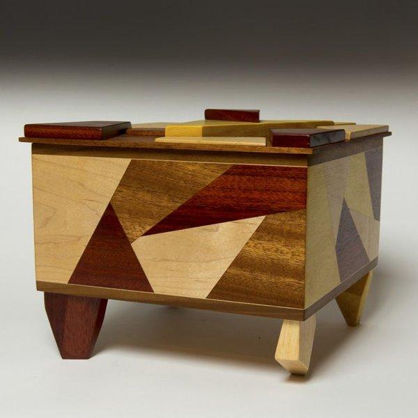 "Doug Pisik, Shatter Box, various woods, 9 x 10.25 x 10.25"""
