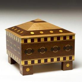 "Doug Pisik, Pyramid Geometric Box, various woods, 8.25 x 8.5 x 8.5"""