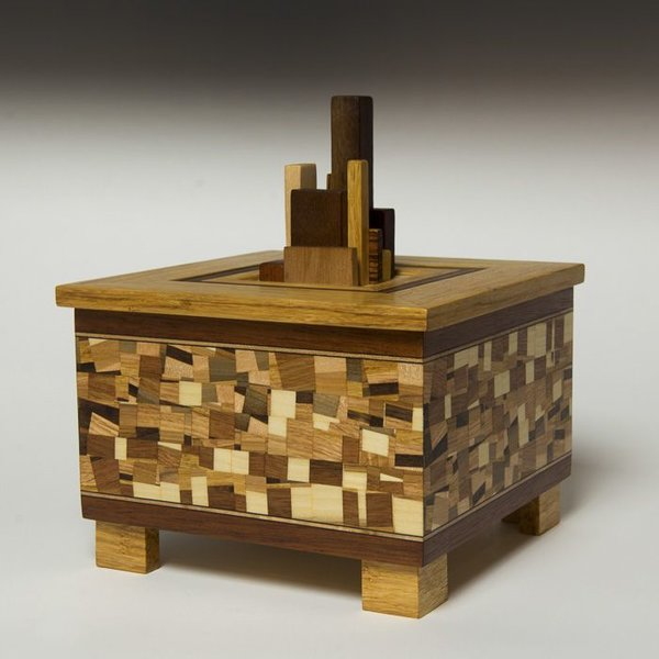 "Doug Pisik, Random Box, various woods, 10 x 8.5 x 8.5"""