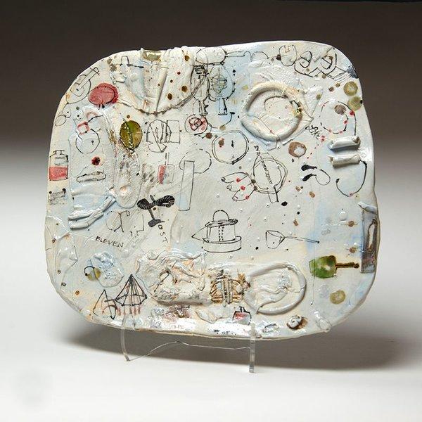 "Ted Saupe Ted Saupe, Handbult Platter, porcelain, 1.5 x 12.5 x 14"""