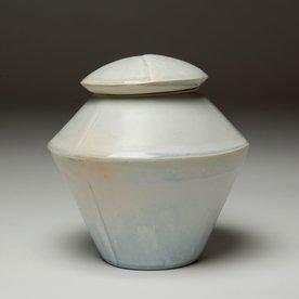 """Nick Moen Nick Moen, Double Cone Jar, porcelain, glaze, 7 x 6.5"""""""