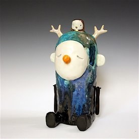 Taehoon Kim Taehoon Kim, Myself and Yours 6, clay, glaze, 9 x 5.3 x 5""