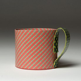 "Lydia Johnson Lydia Johnson, Mug, hand built, double-sided color clay slabs, 3 x 4.5 x 3.5"""