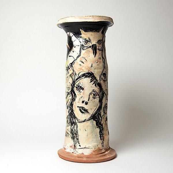 Ron Meyers Ron Meyers, B&W Vase, 17.25 x 7.5