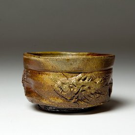 """Ron Meyers Ron Meyers, Teabowl, 3 Fish earthenware, woodfired, 3.25 x 5.5"""""""