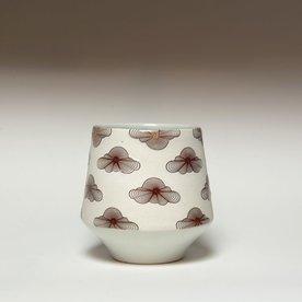 "Andrew Gilliatt Andrew Gilliatt, Op Clouds Whiskey Cup, porcelain, glaze, laser transfers, 3.75 x 3.75"" dia"