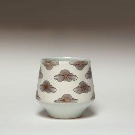 "Andrew Gilliatt Andrew Gilliatt, Op Clouds Whiskey Cup, porcelain, glaze, laser transfers, 3.5 x 3.75"" dia"