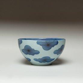 "Andrew Gilliatt Andrew Gilliatt, Op Clouds Bowl porcelain, glaze, laser transfers, 3 x 5.75"" dia"