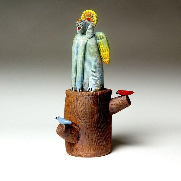 "Barry Gregg Barry Gregg, Dog on a Log, handbuilt earthenware, glaze, 6 x 11.25 x 4.75"""