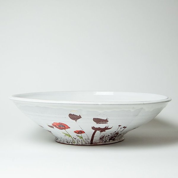 "Justin Rothshank Justin Rothshank, Large Poppy Bowl, earthenware, 16 x 10"" dia"